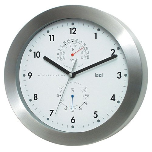 Aluminum Weather Station Wall Clock in White by Bai Design