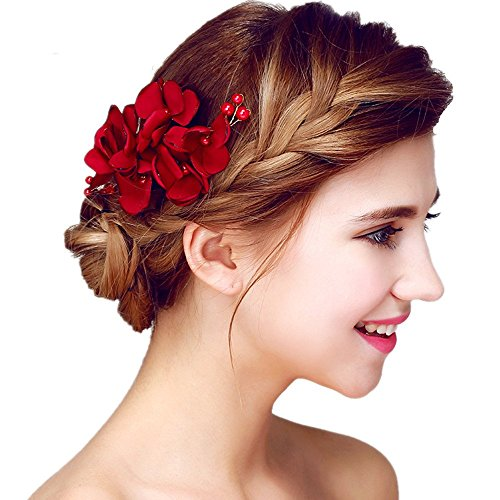 Meiysh Handmade Flower Side Hair Comb Bridal Headpiece Wedding Accessories-Wine red
