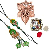 ECraftIndia Designer Bhaiya Bhabhi Rakhi Set With Metal Wall Hanging Of Lord Ganesha On Creative Leaf And Decorative...