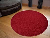 Runder Plain Red Circular Shaggy Pile Rug. Size 133cm Diameter by Rugs Supermarket