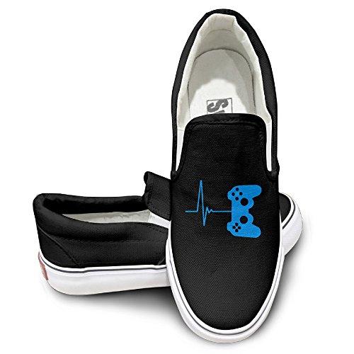 ALIPAPA Custom Men's & Women's Cool Heartbeat Of A Gamer Mode Shoes Black Size 36