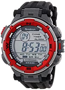 Armitron Sport Men's 40/8301RED Red and Silver-Tone Accented Black Resin Strap Chronograph Digital Watch