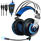 HITSAN Sades A7 3.5mm Wired Stereo Surround Noise Cancelling Gaming Headset with Mic Light One Piece