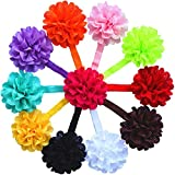 """QS® Baby Girl 14"""" Headbands with Chiffon Flower (Pack of 11)"""
