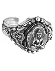 Exotic India Lord Buddha Cuff Bracelet - Sterling Silver