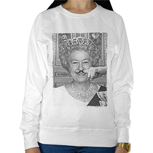 Felpa Leggera Donna Regina Elisabetta Ii Regno Unito Dito Baffi Mustache Funny