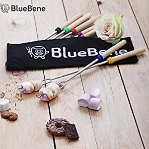 Marshmallow Roasting Sticks by BlueBene - 8 Telescoping Skewers for Hot Dog and Marshmallows - 32 inch Safe Forks Best for Camping with Bonus 10 Bamboo Sticks, Canvas Pouch & S'mores Recipes Ebook