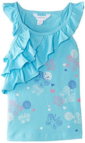Pumpkin Patch Girls Ruffle Knit T-Shirt, Blue Azure, 12-18 Months