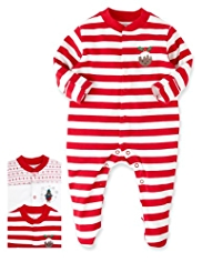 3 Pack Pure Cotton Christmas Design Sleepsuits