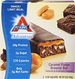 Atkins Advantage Caramel Fudge Brownie Light Meal Bar, 5 Count Bars