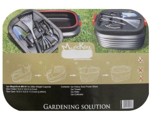 Magic Korb Foldable Basket 4 Pc Gardening Tool Set - Pruner Shear, Trowel, Rake & Cultivator