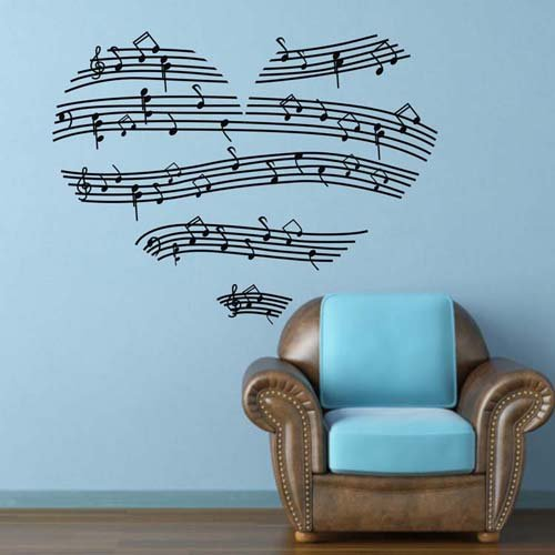 """Colorfulhall 23.4"""" X 35.4"""" Black Wall Sticker Decals Music Notes Love Hearts Wall Art Vinyl Stickers Nursery Wall Decoration Wall Clings Bedroom Wall Decals front-722387"""
