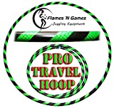 Pro Hula Hoops: Travel Weighted Hula Hoop - Hula Hoops For Exercise, Dance & Fitness! (39'-660g) NO Instructions Needed! (Black/UV Green)