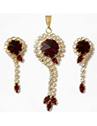 DollsofIndia Faux Zirconia And Garnet Stone Studded Pendant And Earrings - Metal And Acrylic Bead - Red