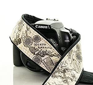 Old World Map Camera Strap 198, Cotton, dSLR, SLR, Mirrorless