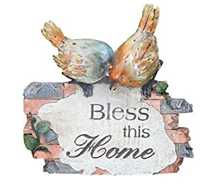 Napco Decorative Brick-Look Bird Bless This Home Plaque, 5-Inch Tall (Discontinued by Manufacturer)