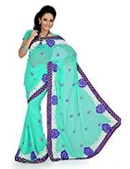 Designersareez Women Faux Georgette Embroidered Aqua Green Saree With Unstitched Blouse(758)