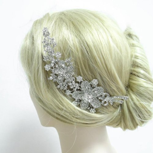 """Ever Faith 6"""" Bridal Flower Leaf Hair Comb Clear Austrian Crystal"""