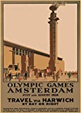 Vintage Olympics 1928 AMSTERDAM in HOLLAND, TRAVEL FROM HARWICH, ENGLAND BY DAY OR NIGHT 250gsm ART CARD Gloss A3 Reproduction Poster