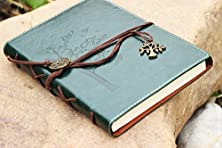 buy Valery®Classic Leather Notebook-Vintage Diary &Journal -Blank&Lined Refillable Loose Leaf Pages-Mediterranean &Middle Ages Design-Men&Women Daily Use Gift (Largerupgrade-Tree-Green)