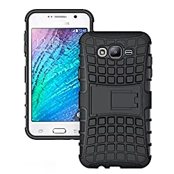 Plus Shock Proof Protective Rugged Armor Super Hybrid Heavy Duty Back Case Cover For Samsung Galaxy J7 - Rugged Black