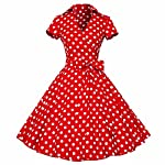 Samtree Womens 50s Style Polka Dot Short Sleeves Rockabilly Vintage Tea Dress