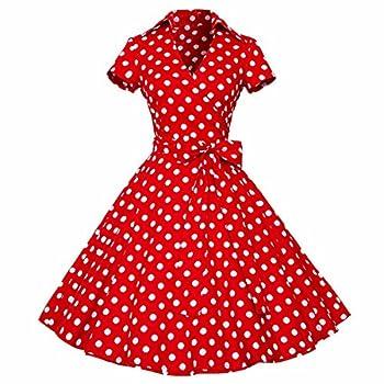 Samtree Womens 50s Style Polka Dot Short Sleeves Rockabilly Vintage Tea Dress