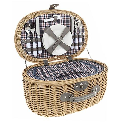 4-persona-oval-marron-chequeado-equipada-picnic-basket