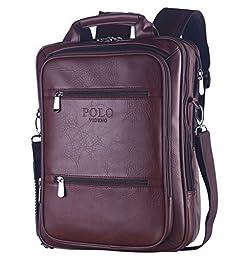 VIDENG POLO® Classic Vintage Genuine Leather RFID Blocking Secure Cross body Briefcase Business Laptop Messenger Shoulder Backpack Bag for 13 15 17 inch Macbook Laptop(S6-brown)