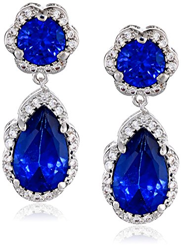 """CZ by Kenneth Jay Lane """"Classic"""" Round, Pear and Pave Cubic Zirconia Post Blue Drop Earrings, 8 CTTW"""