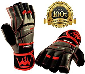 Weightlifting Gloves for Gym Fitness Crossfit Bodybuilding - Workout Weight Lifting Gloves for Men & Women - DOMINATOR Leather Crossfit Training Gloves w. Wrist Support Wraps