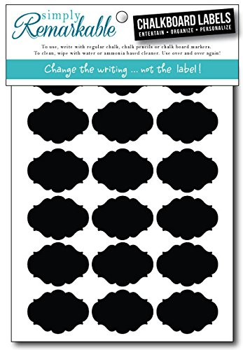"""Simply Remarkable Reusable Chalk Labels - 54 Fancy Oval Shape 1.75"""" X 1.25"""" Adhesive Chalkboard Stickers, Light Material With Removable Adhesive And Smooth Writing Surface. Can Be Wiped Clean And Reused, For Organizing, Decorating, Crafts, Personalized Ho"""