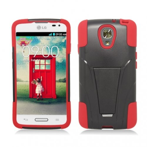 Cell Accessories For Less (Tm) Black / Red Hybrid Hard/Silicone Case Cover With Stand For Lg Volt 2 Ls740 + Bundle (Stylus & Micro Cleaning Cloth) - By Thetargetbuys