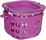 Lifefactory 2-Cup Glass Food Storage with Silicone Sleeve, Huckleberry