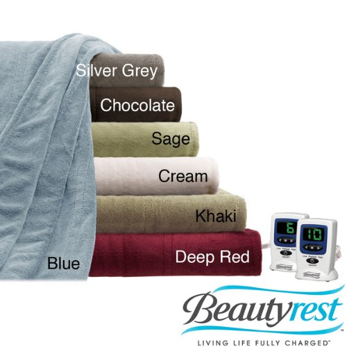 Beautyrest Cozy Plush King Size Electric Blanket In Deep Red front-942703