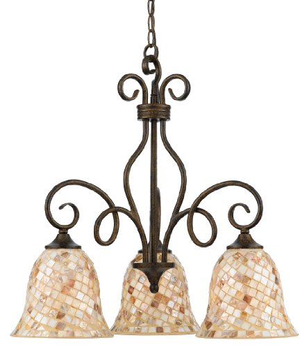 Quoizel MY5103ML Monterey Mosaic 3 Light Chandelier, Malaga and Pen Shell Mosaic Glass Shade