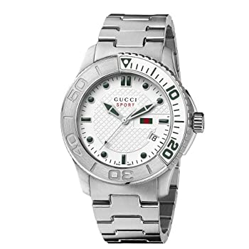 Men's YA126232 G-Timeless Dive White Dial Steel Bracelet Watch by Gucci