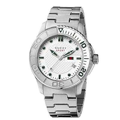 Gucci Men's YA126232 G-Timeless Dive White Dial Steel Bracelet Watch from Gucci