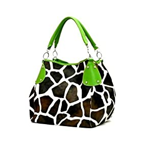 Green Giraffe Designer Inspired Animal Print Handbag Purse Bag Tote