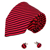 Red Silk Necktie Cufflinks Set Red Stripes Birthday Gifts for Man Discount A2103 One Size Red