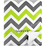 Berlando - Signature Edition - Chevron Baby Blanket , Green And Gray, 100% Polyester, #1 Ranked In Minky Valour...