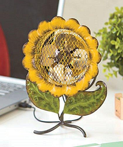 Sunflower Design Mini Desk Fan USB Plug Into Laptop Desktop Computer Personal Workstation Home Office 7-1/4