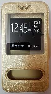 Avzax Silk Skin Dual Window Flip Slim Leather Case Cover for Micromax Yu Unique (Gold)