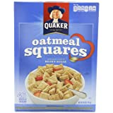 Quaker Oatmeal Squares, Crunchy Oatmeal Cereal with a Hint of Brown Sugar, 14.5-Ounce Boxes (Pack of 4) ~ Quaker