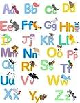Lovely animal alphabet wall sticker d...