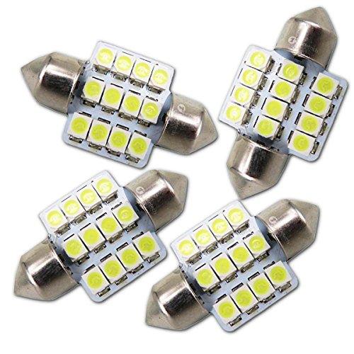 Zone Tech 12-smd Festoon Dome Light LED Bulbs - 4-Piece Premium Quality Xenon White 31mm 12-smd 1.25