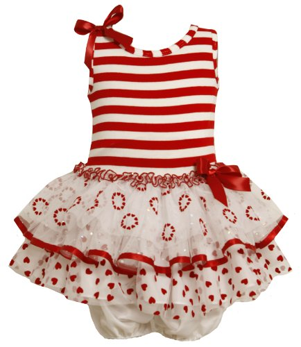 Bonnie Jean Red Dress Size 18M Baby Girl Stripe Tier Heart