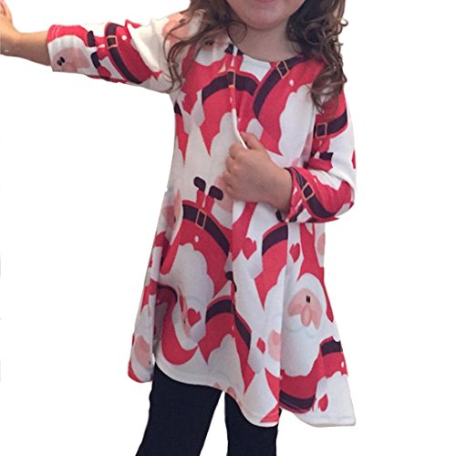 Tenworld Baby Girls Red Santa Claus Long Sleeve Swing Christmas Party Dress (130)