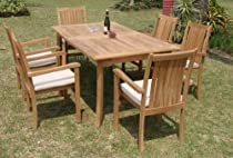 "Hot Sale Grade-A Teak Wood Luxurious Dining Set Collections: 7 pc - 94"" Double Extension Rectangle Table And 6 Cahyo Stacking Arm Chairs"