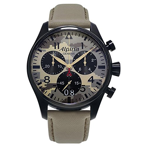 Alpina-Mens-STARTIMER-PILOT-Quartz-Stainless-Steel-and-Canvas-Casual-Watch-ColorBeige-Model-AL-372MLY4FBS6